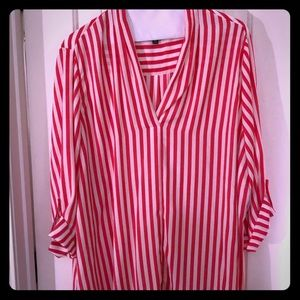 Tops - Pink Striped 3/4 Sleeve Shirt